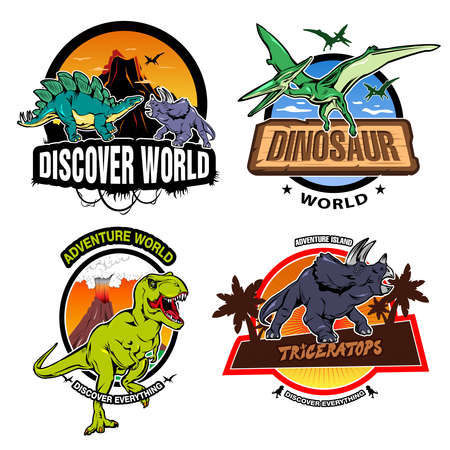 extinct: Dinosaur world colorful emblems of exhibitions or museums with tropical nature and extinct reptiles isolated vector illustration