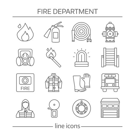 protective clothing: Fire department linear icons set with warning systems protective clothing professional equipment isolated vector illustration