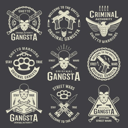 criminals: Criminal authority monochrome emblems with gangster skull and different weapon on black background isolated vector illustration