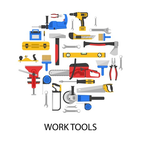 vice: Work tools set in round shape with saws drills wrenches vice axe pliers grinder isolated vector illustration Illustration