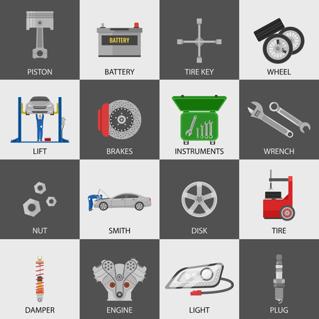 repairmen: Car service icons set with repairmen auto details instruments on black and white backgrounds isolated vector illustration Illustration