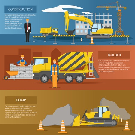 excavate: Construction horizontal banners set with process of facility creation work of builders dump isolated vector illustration