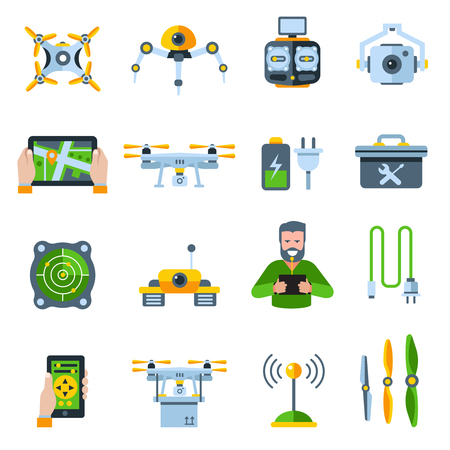 addictive: New technologies flat icon set with people addictive electronic technology isolated and colored vector illustration Illustration