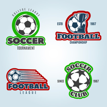 competitions: Soccer colored of club and competitions with football trophy on pale blue background isolated vector illustration