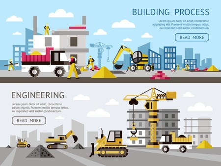 skid steer: Construction colored banner set with building process and engineering descriptions plus buttons vector illustration Illustration