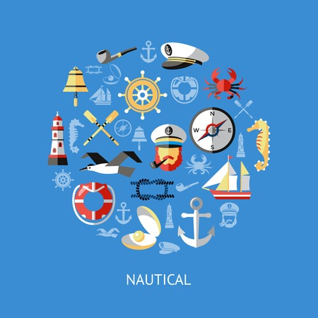 Nautical round composition with isolated icon set combined in big circle on blue background vector illustration Illustration