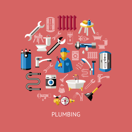 sewerage: Colored plumbing round composition with isolated icon set combined in big circle vector illustration