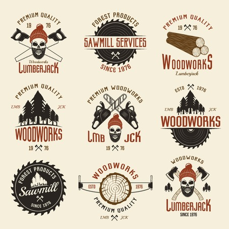 tree service business: Lumberjack colored retro style emblems with timber and working tools on light beige background isolated vector illustration