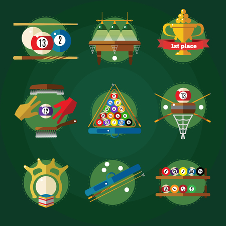 pool game: Conceptual billiards icon set in circles with attributes for pool game colored and isolated vector illustration Illustration