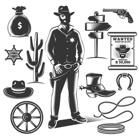 sheriffs: Sheriff icon set with black isolated elements of cowboys and sheriffs equipments vector illustration Illustration