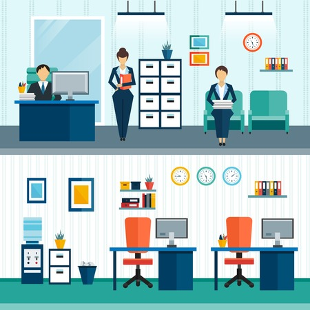 furnishings: Two office interior compositions with interior furnishings in office and arrangement of furniture vector illustration Illustration