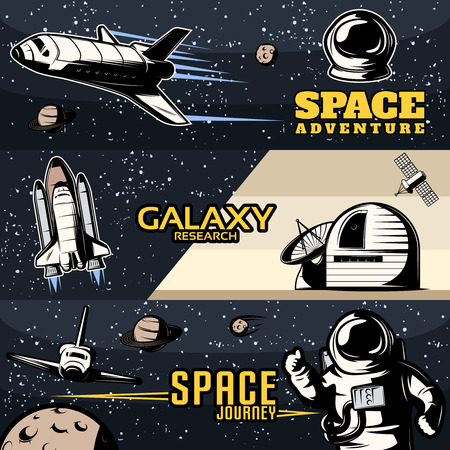 shuttles: Space horizontal banners set with scientific equipment for galaxy research cosmic shuttles for journeys isolated vector illustration Illustration