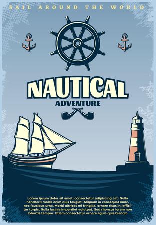 paddle wheel: Retro nautical poster with title sail around the world nautical adventure headlines vector illustration