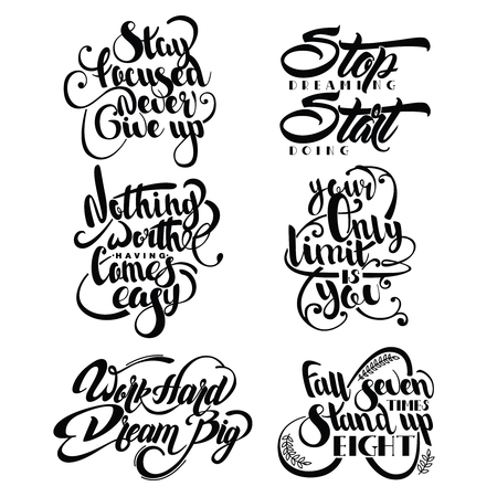 to incline: Set of decorative monochrome quotes with flourishes laurel leaves and different incline isolated vector illustration Illustration