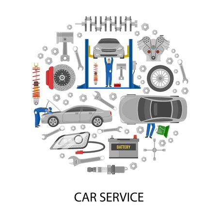 tire cover: Auto service round design with cars mechanics work tools machine details on white background vector illustration