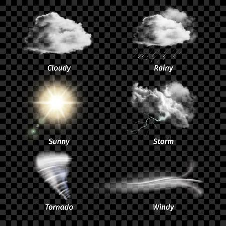 Icono de clima color realista aislado con el tipo de clima en la ilustración vectorial de fondo transparente