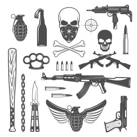Gangster monochrome elements set with bandit emblems ammunition and different types of weapon isolated vector illustration