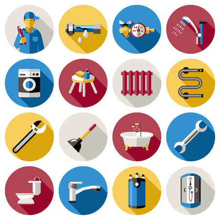 sewerage: Colored plumbing and isolated icon set in circles with tools and workers vector illustration