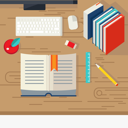 textural: School books design with educational literature computer equipment and stationery on beige textural desk vector illustration Illustration