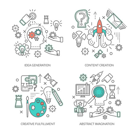 idea generation: Creative concept linear compositions with idea generation content development abstract imagination and inventive fulfillment isolated vector illustration