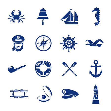 nautical vessel: Isolated nautical icon set in dark blue with elements of underwater world and vessel vector illustration Illustration
