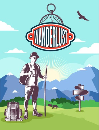 wanderlust: Vintage wanderlust poster with colored environment and black tourist attributes and protagonist vector illustration