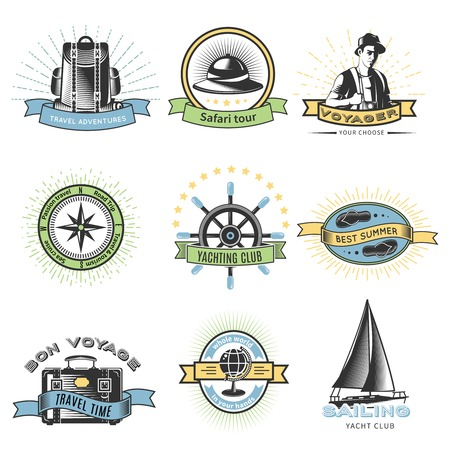 wanderlust: Colored wanderlust label set with travel adventures safari tour yachting club and others descriptions vector illustration