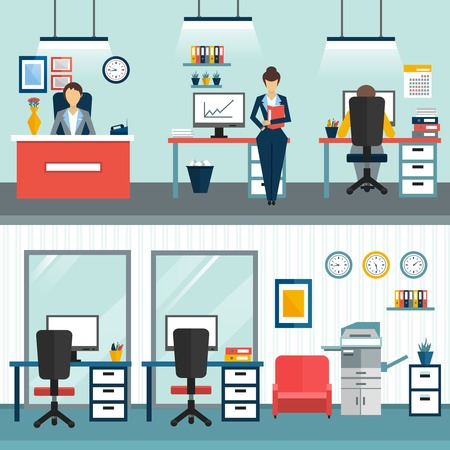 employers: Two office interior compositions with employers and without type of workplace and cabinet vector illustration