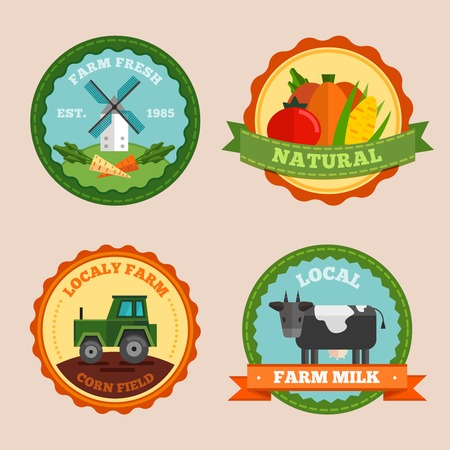 corn field: Flat farm emblem set with farm fresh natural locally farm corn field and local farm milk descriptions vector illustration