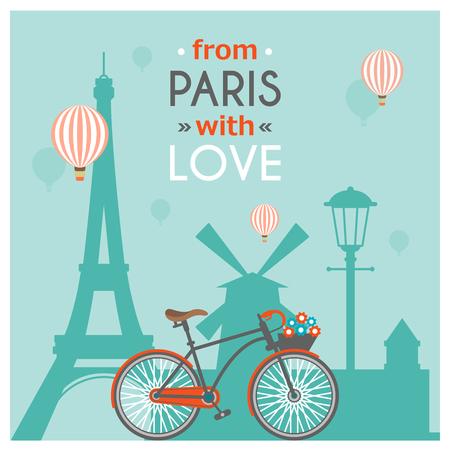 De lichtblauwe briefkaart van Parijs met multicolored krantekop van Parijs met liefde vectorillustratie Stock Illustratie