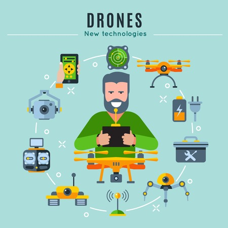 drones: Drones colored composition with playing man at the center and isolated icon set around vector illustration