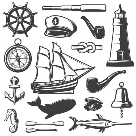 inhabitants: Nautical icon set captain attributes marine inhabitants and elements black and isolated vector illustration