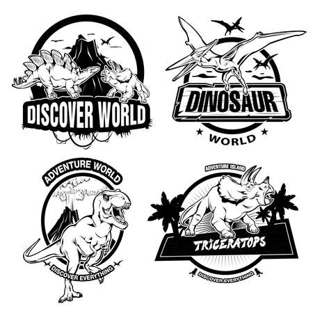 extinct: Dinosaurs black white emblems of museums or exhibitions with extinct animals and ancient nature isolated vector illustration