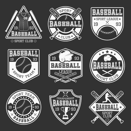 competitions: Baseball monochrome  teams and competitions with sports outfit on black background isolated vector illustration