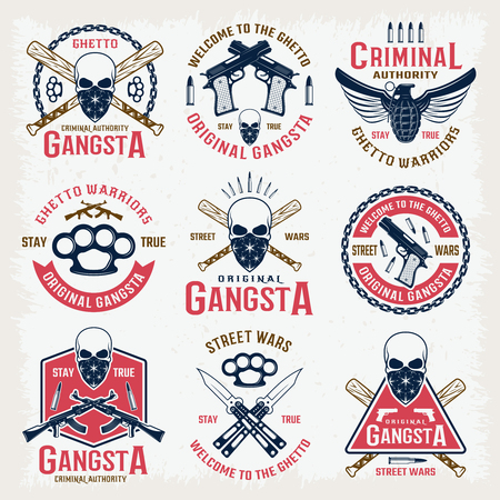 Gangster colored emblems with bandit mascot crossed bats edged weapon  and firearm isolated vector illustration Ilustrace