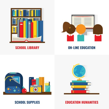 compositions: School books colorful compositions with library and online training educational supplies and humanities isolated vector illustration
