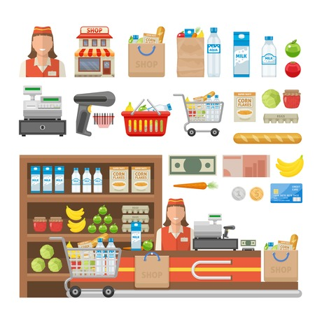 cash register building: Supermarket decorative elements set with employee equipment of shop food cash and banking card isolated vector illustration