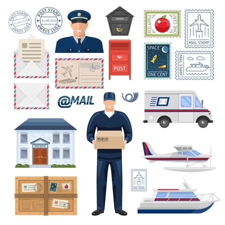 pillar box: Post office set with employees building imprint and postage stamps transportation parcel and letters isolated vector illustration