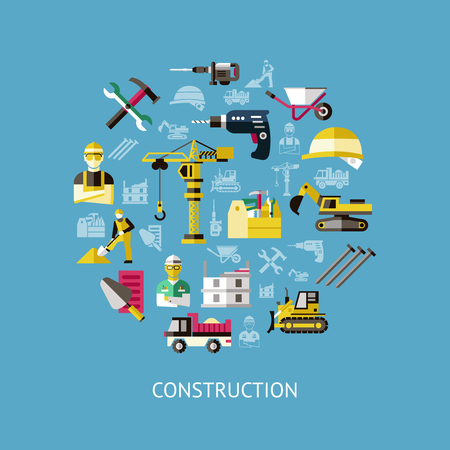 skid steer: Construction round composition with isolated colored icon set combined in big circle vector illustration