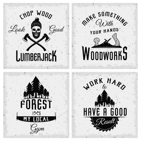 textural: Lumberjack monochrome with quotes working tools and spruce forest on textural background isolated vector illustration