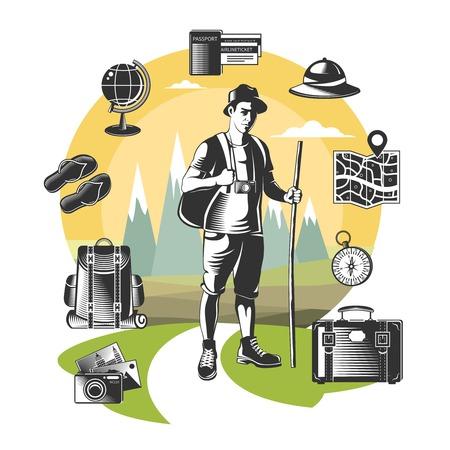 wanderlust: Vintage wanderlust element set with colored background and black isolated tourist elements vector illustration Illustration