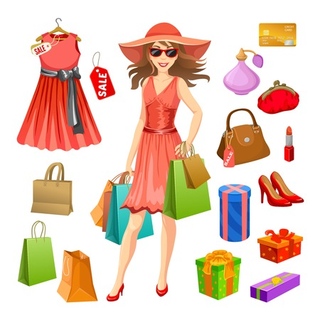 Shopping elements set with woman in red dress packages and gifts perfume and cosmetic isolated vector illustration