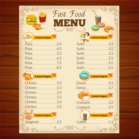 grilled vegetables: Fast food menu with decorative frame vignettes snack dishes beverage and pastry on wooden background vector illustration