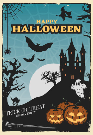 spiderweb: Halloween party poster with lanterns of jack and haunted house on spiderweb background with moon  vector illustration