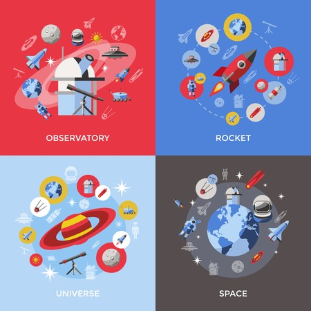 Four space icon set with descriptions of observatory rocket universe and space vector illustration