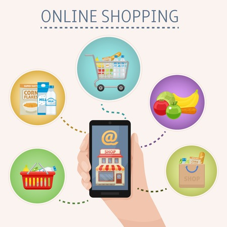 foodstuff: Online shopping concept with smartphone in hand and foodstuff icons around on white background vector illustration Illustration