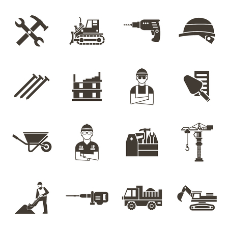 skid steer: Construction isolated black icon set construction workers in uniform tools and equipment vector illustration Illustration