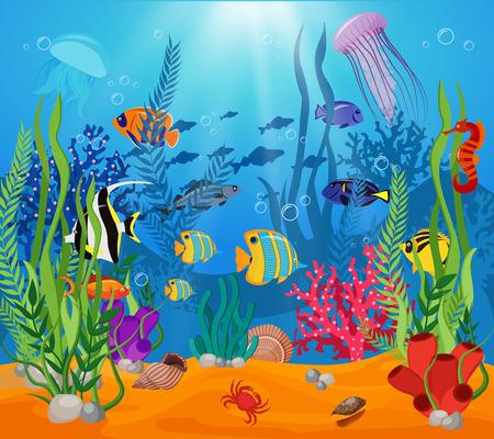 algae cartoon: Sea life animals plants composition colored cartoon with marine life and various types of algae vector illustration