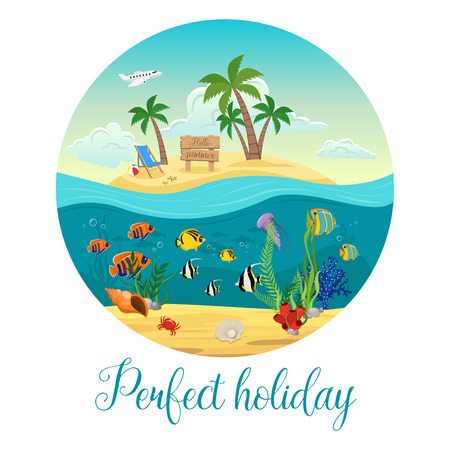 bubble sea anemone: Colored underwater world island poster with big round and perfect holiday description vector illustration Illustration