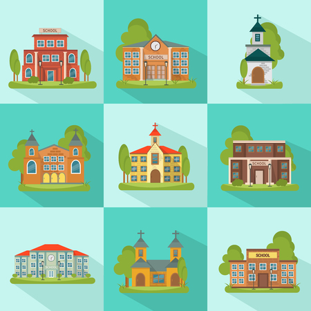 municipal: Building colored and isolated icon set with school church municipal buildings in squares vector illustration Illustration